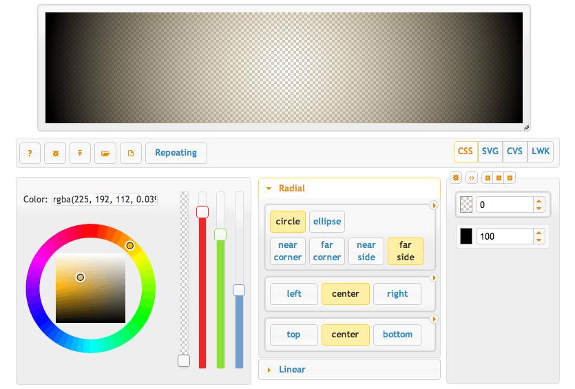 Visual CSS Gradient Generator