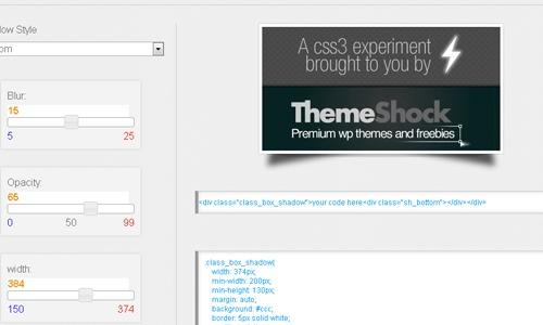 ThemeShock's CSS3 Drop Shadow Generator