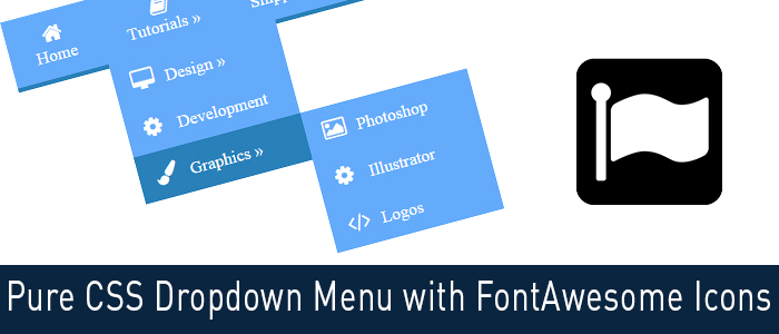 Pure CSS Dropdown Menu with FontAwesome Icons