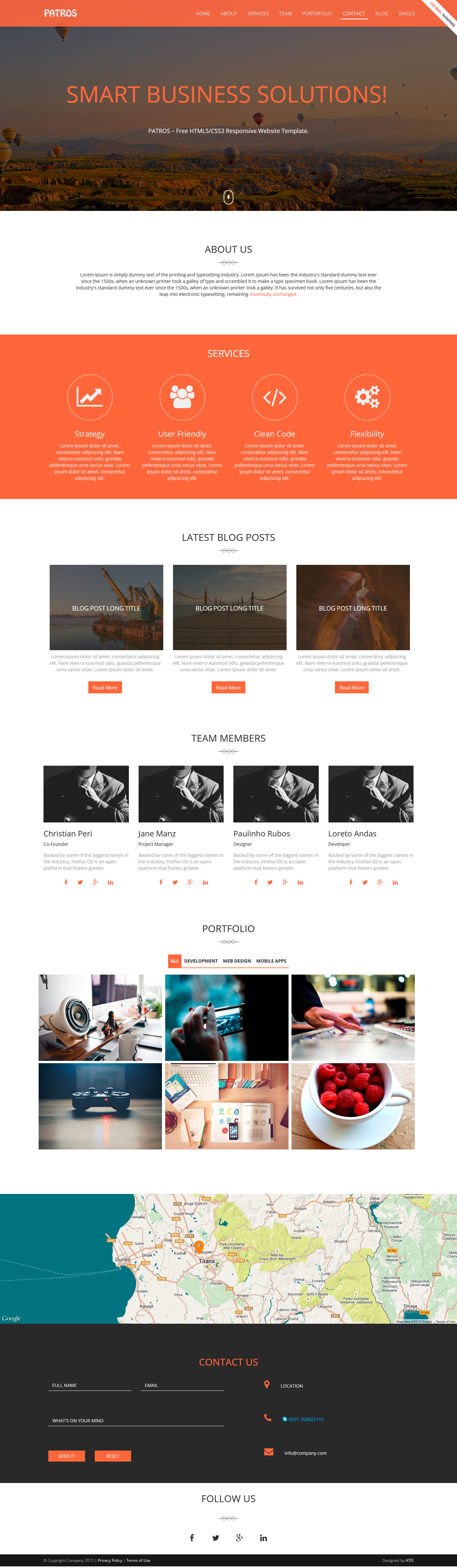 Free Download Patros A Free HTMLCSS Responsive Website Template - Responsive website templates free download html5 with css3