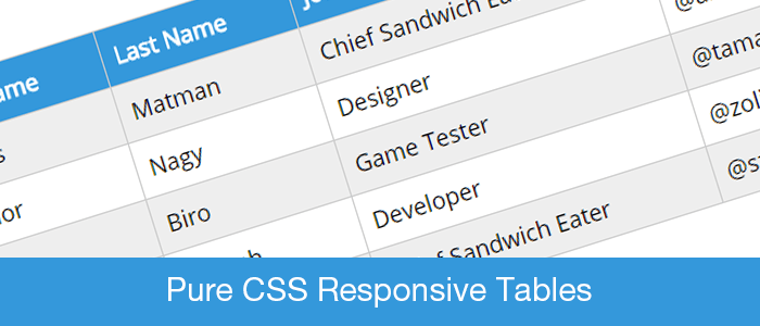 Pure css responsive tables for Table header th