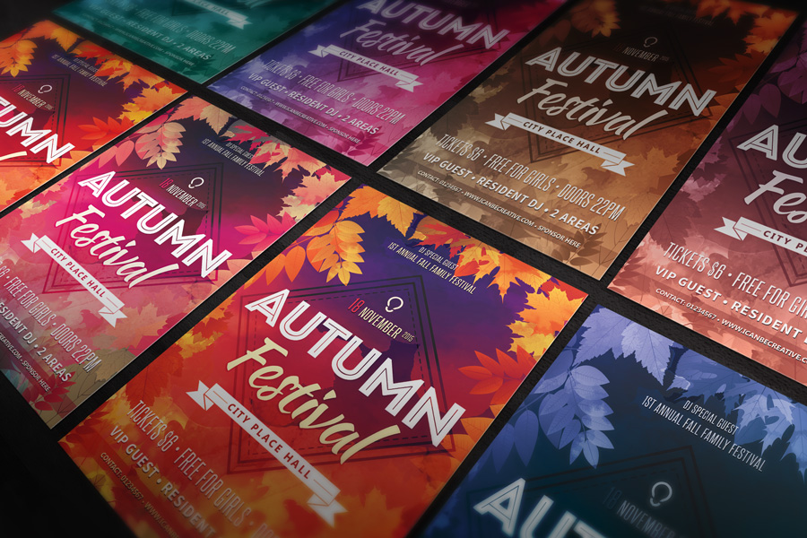 free psd flyer templates for autumn elebration party
