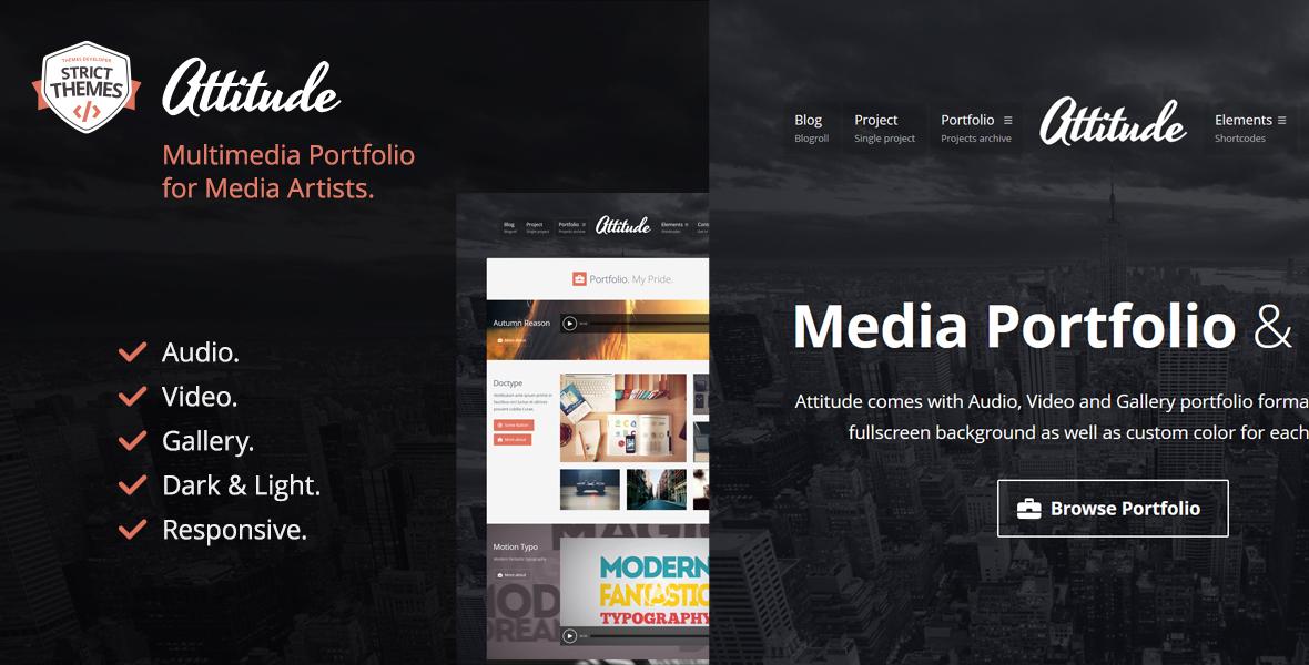 Multimedia Portfolio WordPress Theme for Media Artists