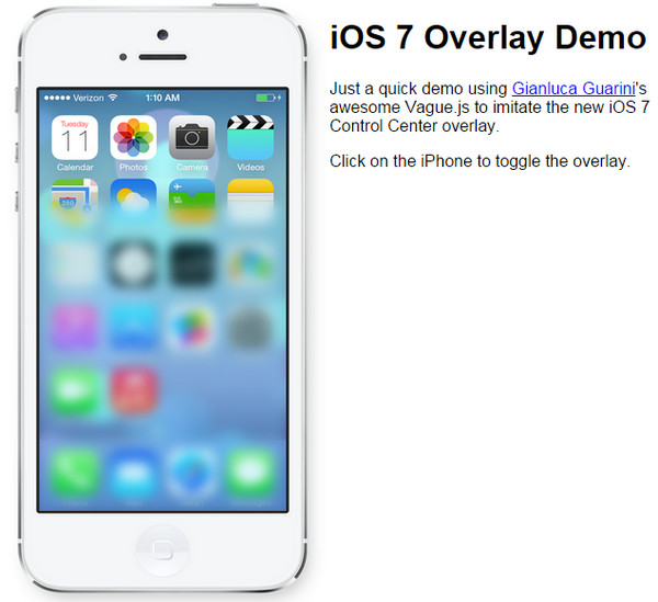 iOS 7 Overlay Demo by Aryeh Raber