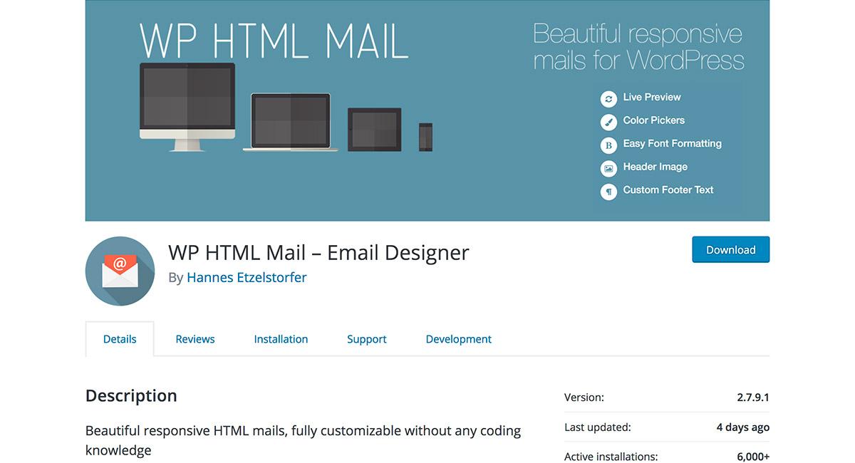 WP HTML Mail – Email Designer