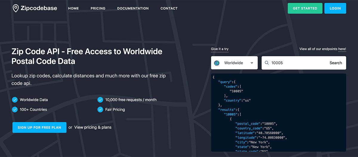Zip Code API - Free Worldwide Postal Code Data